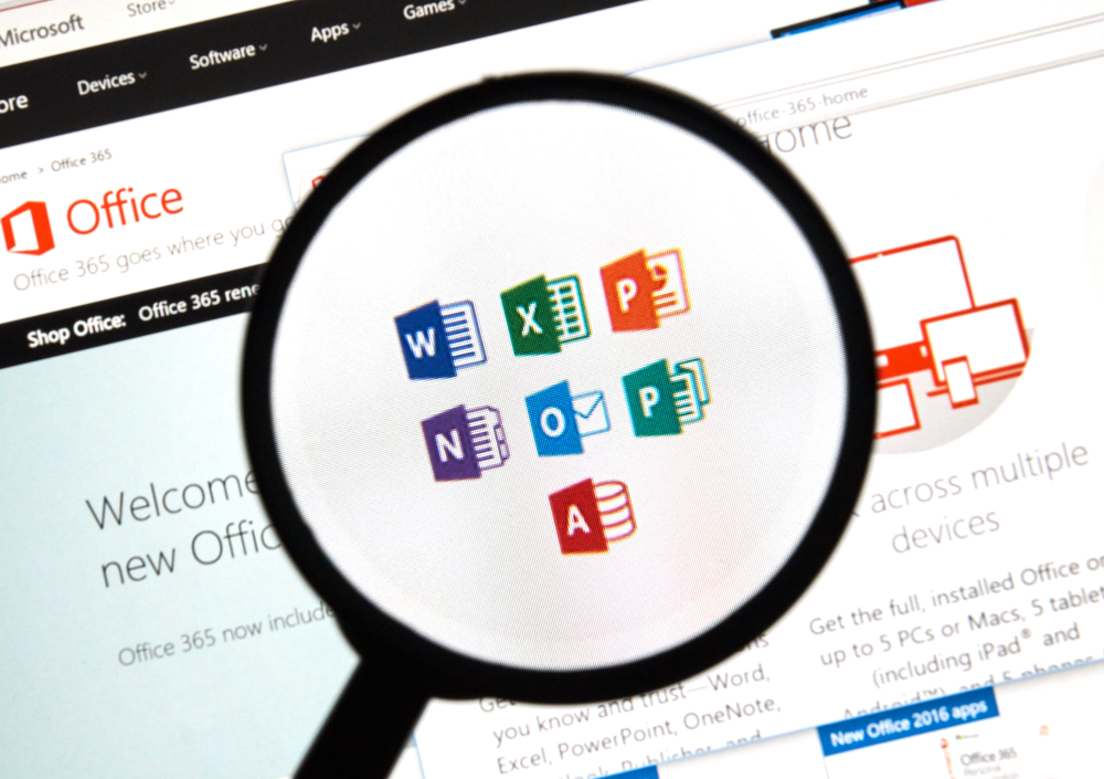 office 365 apps with magnifying glass